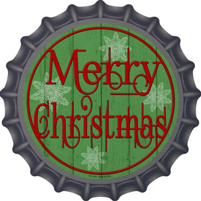 Merry Christmas Green Novelty Metal Bottle Cap BC-1361