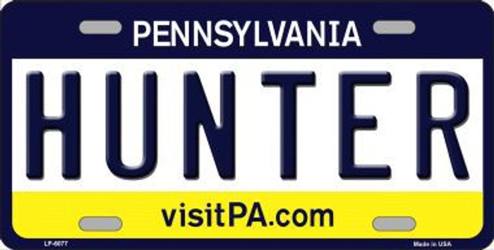 Hunter Pennsylvania State Background Novelty Metal License Plate