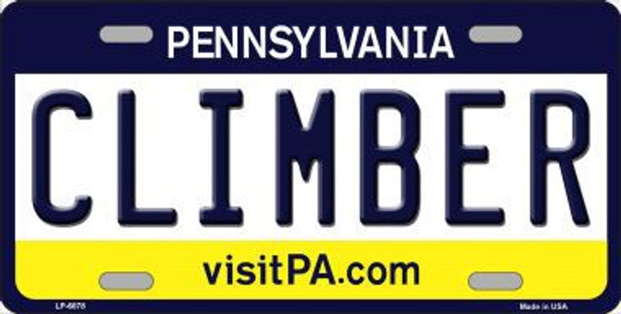 Climber Pennsylvania State Background Novelty Metal License Plate