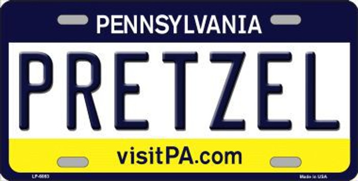 Pretzel Pennsylvania State Background Novelty Metal License Plate