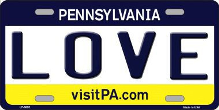 Love Pennsylvania State Background Novelty Metal License Plate