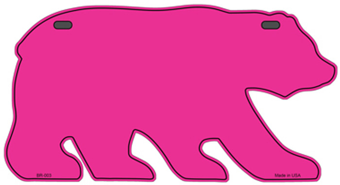 Solid Pink Novelty Metal Bear Tag BR-003