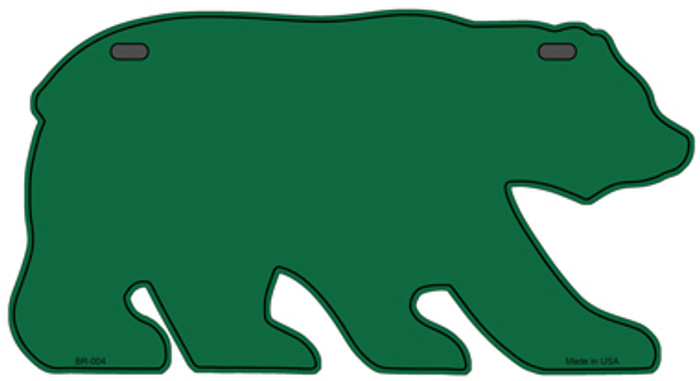 Solid Green Novelty Metal Bear Tag BR-004