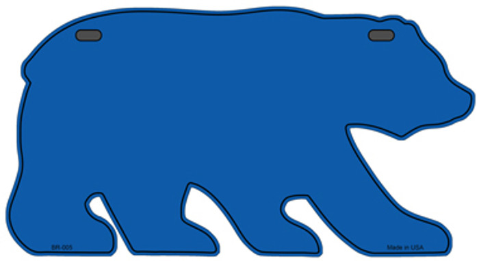 Solid Blue Novelty Metal Bear Tag BR-005