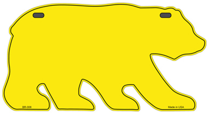 Solid Yellow Novelty Metal Bear Tag BR-006