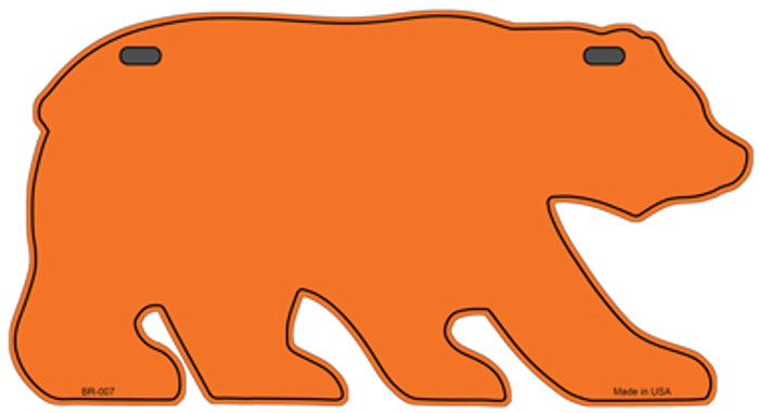 Solid Orange Novelty Metal Bear Tag BR-007