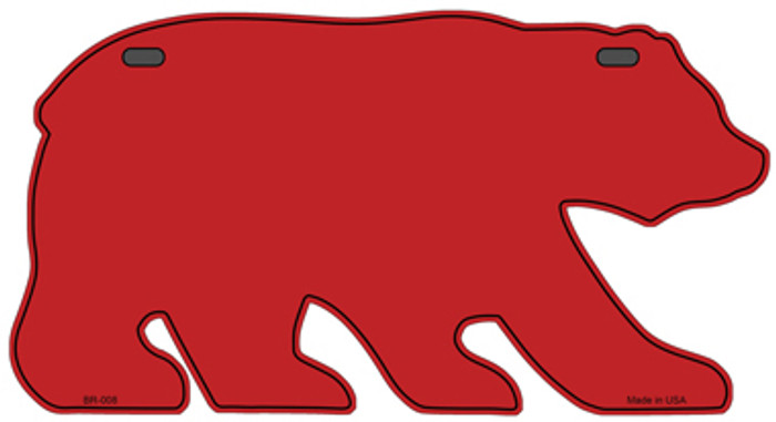Solid Red Novelty Metal Bear Tag BR-008