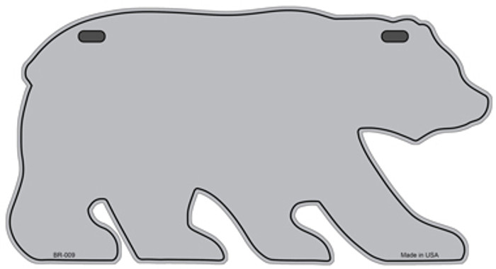 Solid Gray Novelty Metal Bear Tag BR-009