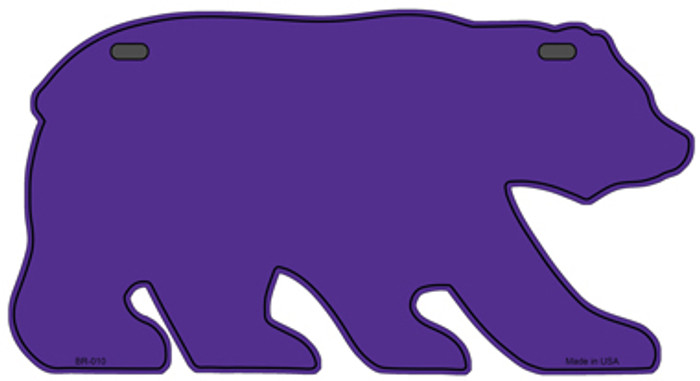 Solid Purple Novelty Metal Bear Tag BR-010