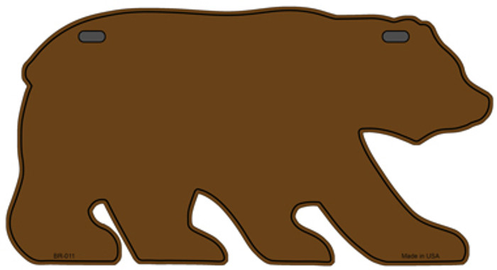 Solid Brown Novelty Metal Bear Tag BR-011