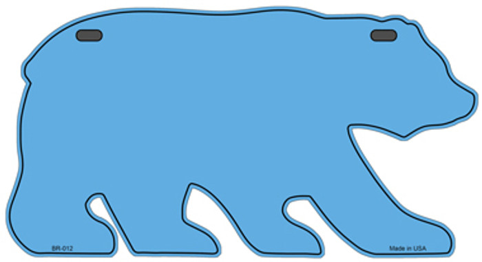 Solid Light Blue Novelty Metal Bear Tag BR-012