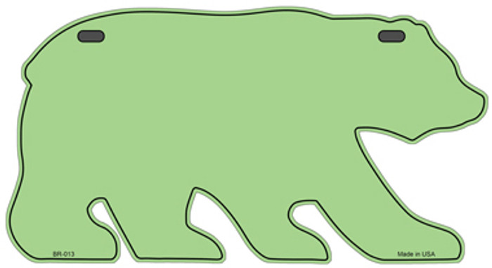 Solid Lime Green Novelty Metal Bear Tag BR-013