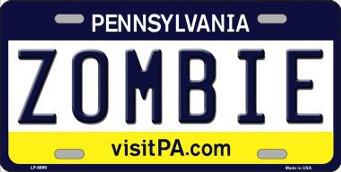 Zombie Pennsylvania State Background Novelty Metal License Plate