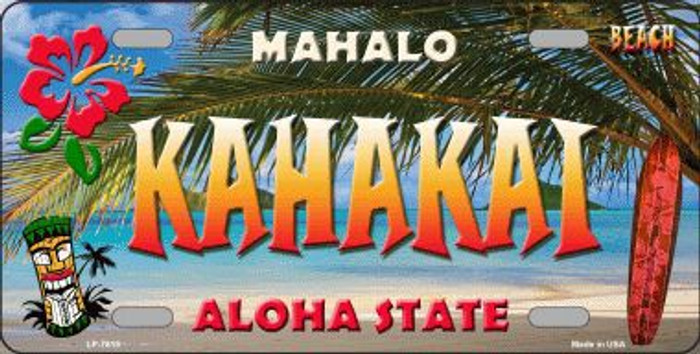 Kahakai Hawaii State Background Novelty Metal License Plate