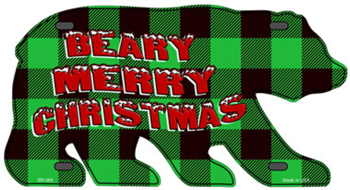 Beary Merry Christmas Green Novelty Metal Bear Tag BR-068