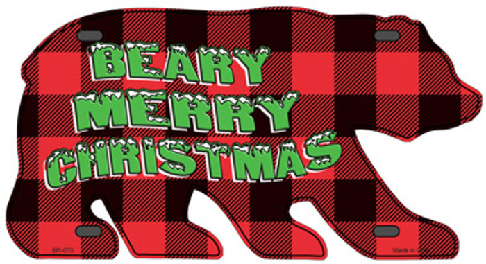 Beary Merry Christmas Red Novelty Metal Bear Tag BR-070