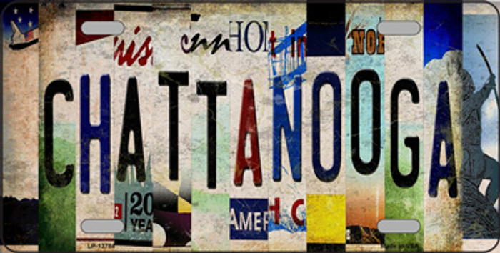 Chattanooga Strip Art Novelty Metal License Plate Tag LP-13784
