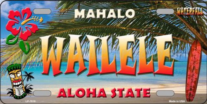 Wailele Hawaii State Background Novelty Metal License Plate