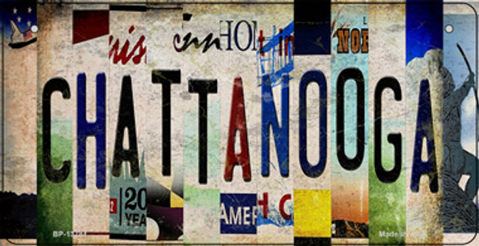Chattanooga Strip Art Novelty Metal Bicycle Plate BP-13784