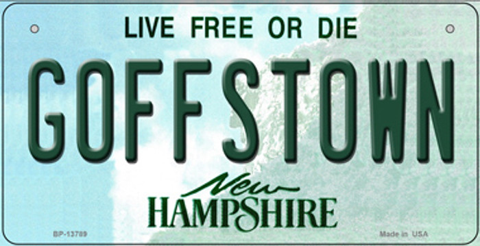 Goffstown New Hampshire Novelty Metal Bicycle Plate BP-13789