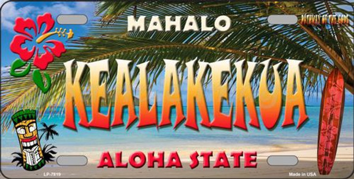 Kealakekua Hawaii State Background Novelty Metal License Plate
