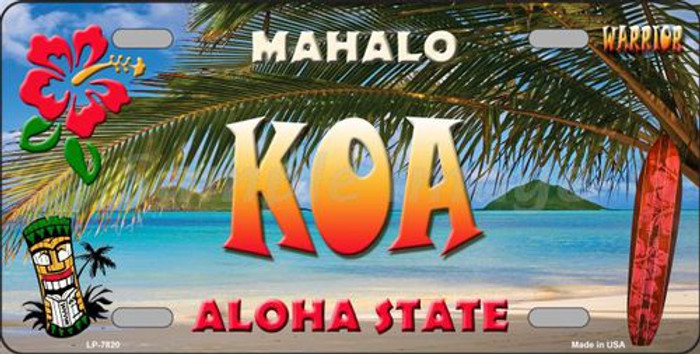 Koa Hawaii State Background Novelty Metal License Plate