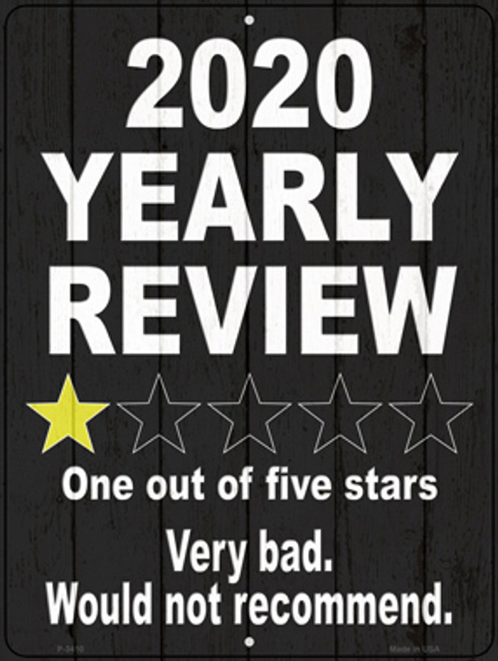 2020 Yearly Review Novelty Metal Parking Sign P-3410