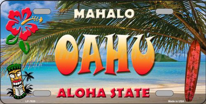 Oahu Hawaii State Background Novelty Metal License Plate