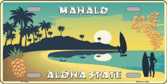 Mahalo Pineapple Hawaii Blank State Background Novelty Metal License Plate