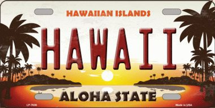 Hawaii Hawaiian Islands Background Novelty Metal License Plate