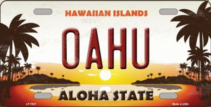 Oahu Hawaiian Islands Background Novelty Metal License Plate