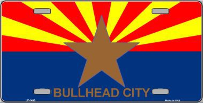 Bullhead City Arizona State Flag Metal Novelty License Plate