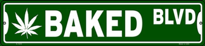Baked Blvd Novelty Small Metal Street Sign K-1619