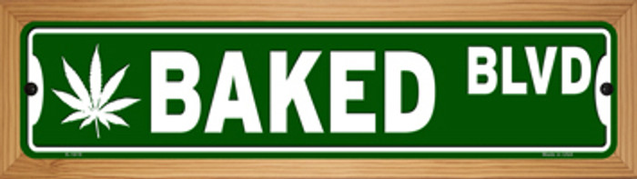 Baked Blvd Novelty Wood Mounted Small Metal Street Sign WB-K-1619