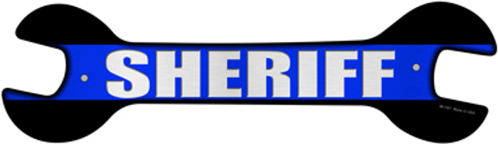 Sheriff Thin Blue Line Novelty Metal Wrench Sign W-161