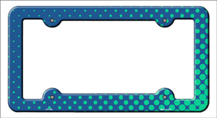 Turquoise Faded Dots Novelty Metal License Plate Frame