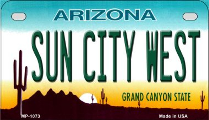 Sun City West Arizona Metal Novelty Motorcycle License Plate Tag MP-1073