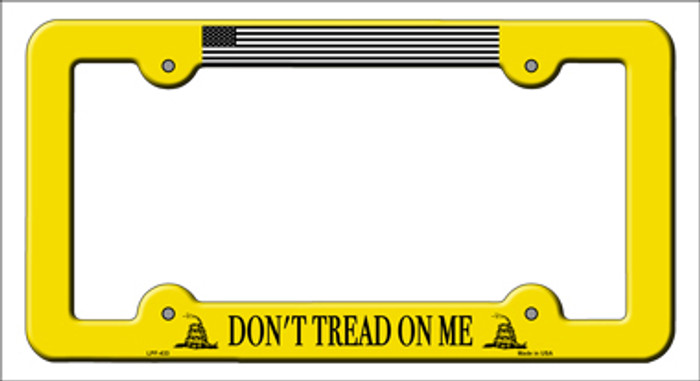 Dont Tread Flag Yellow Novelty Metal License Plate Frame
