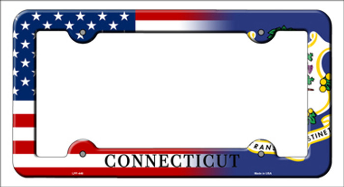 Connecticut|American Flag Novelty Metal License Plate Frame