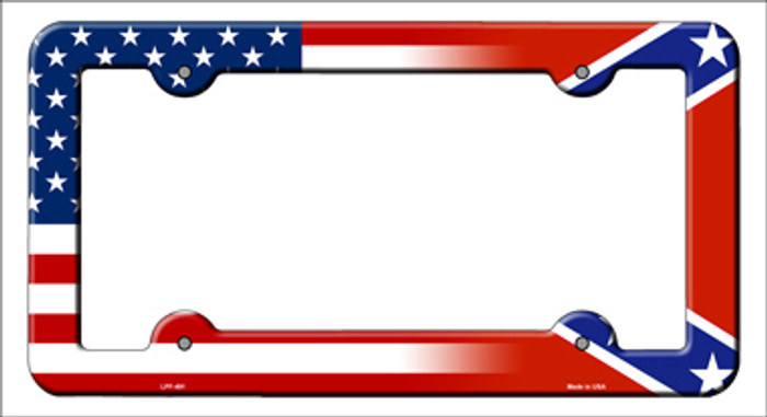 Confederate American Flag Novelty Metal License Plate Frame