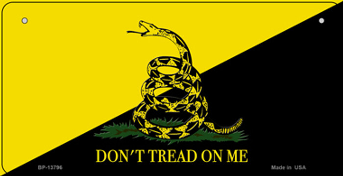 Dont Tread On Me Yellow|Black Novelty Metal Bicycle Plate