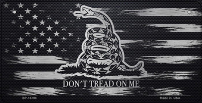 Dont Tread On Me Distressed Flag Novelty Metal Bicycle Plate