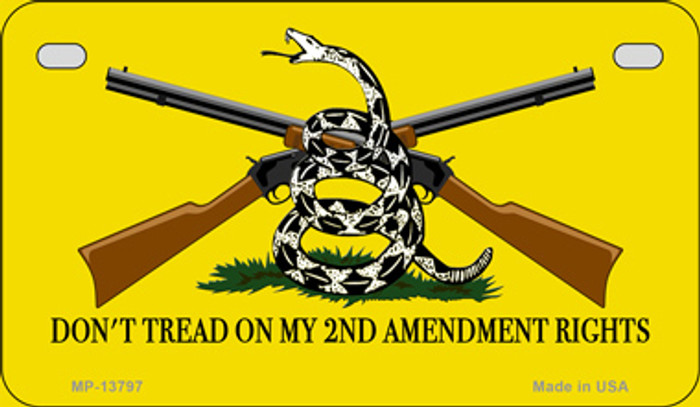 Dont Tread On My 2nd Amendment Novelty Metal Motorcycle Plate
