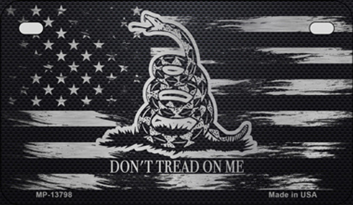 Dont Tread On Me Distressed Flag Novelty Metal Motorcycle Plate