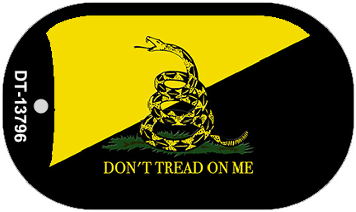 Dont Tread On Me Yellow|Black Novelty Metal Dog Tag Necklace