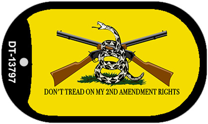 Dont Tread On My 2nd Amendment Novelty Metal Dog Tag Necklace