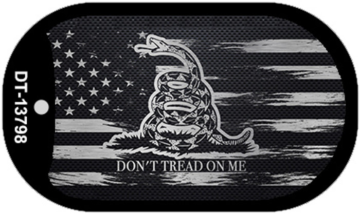 Dont Tread On Me Distressed Flag Novelty Metal Dog Tag Necklace