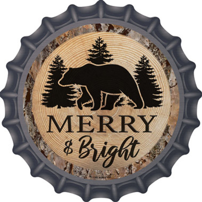 Merry and Bright Bear Novelty Metal Bottle Cap