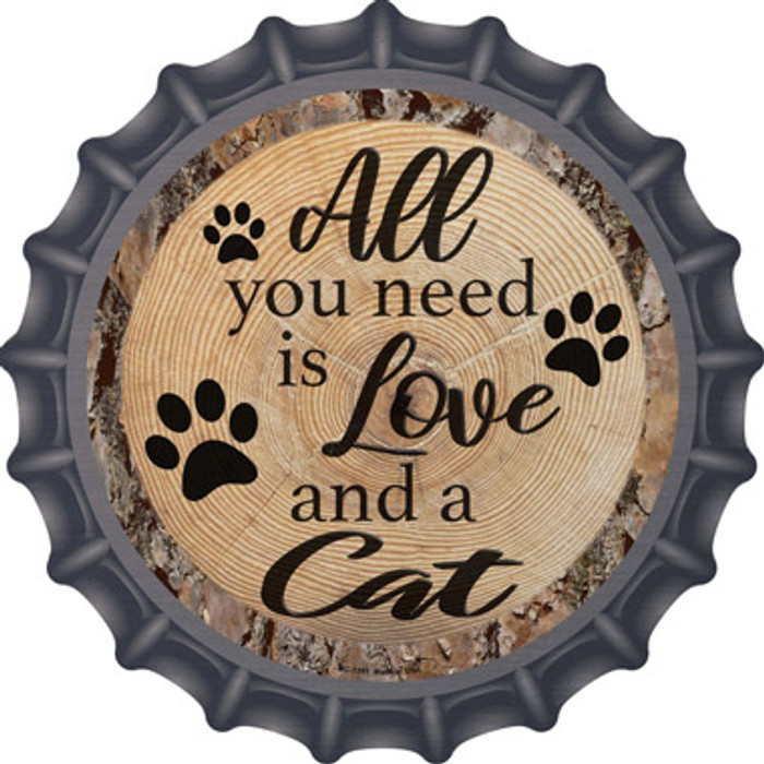 Love and a Cat Novelty Metal Bottle Cap