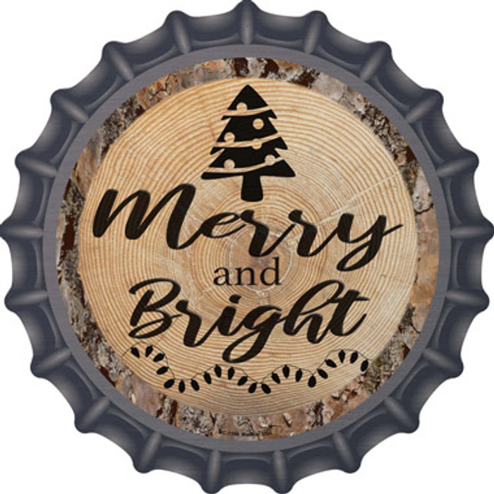 Merry and Bright Novelty Metal Bottle Cap